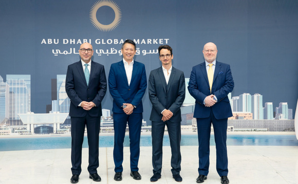 (left to right) Waheed Rathore, the executive director, banking & insurance supervision, financial services regulatory authority of ADGM; Richard Teng, CEO, financial services regulatory authority of ADGM; Daniel Gould, deputy CEO, Anglo-Gulf Trade Bank and Fraser Brown, executive director, banking & insurance authorisation, financial services regulatory authority of ADGM